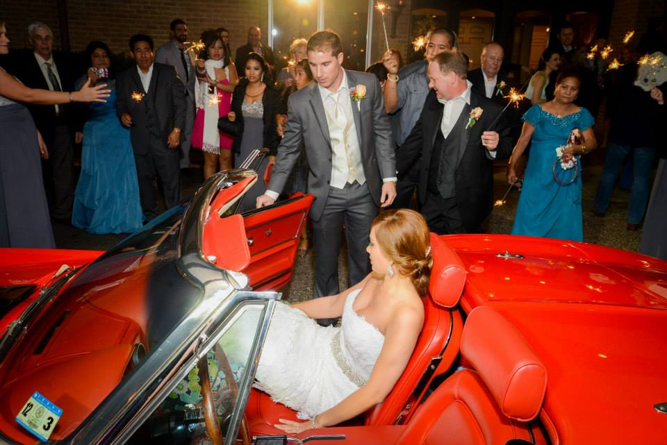 Red Corvette wedding sendoff